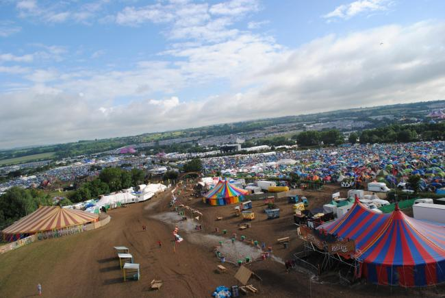 SITE: The Glastonbury Festival and, inset, how the footprint looks superimposed on Taunton. PICTURES: Paul Jones/Google Maps
