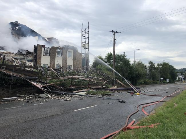 COLLAPSE: The front of the Premier Inn hotel has collapsed onto the Front of hotel collapsed onto the A4018 at Cribbs Causeway