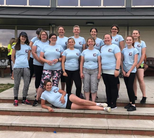 HUNTSPILL LADIES:  back row - Emma Huddy, Sarah Cook, Sarah Greenway, Helen Binge, Sue Crawford, Alison McCarter, Rio Blyth; middle - Amanda Counsell, Rhian Emery, Leanne Wainwright, Zoe Richards, Eleri Counsell, Molly Wainwright; front - Kamilla Roper