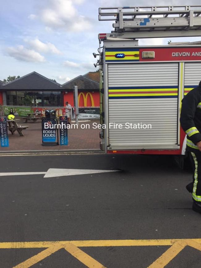 FIRE: Firefighters at McDonalds at Sedgemoor Services