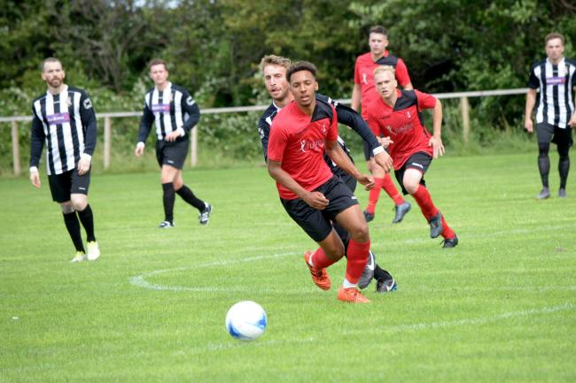ON TARGET: Burnham United's Tyrese Stewart. Pic: Steve Richardson