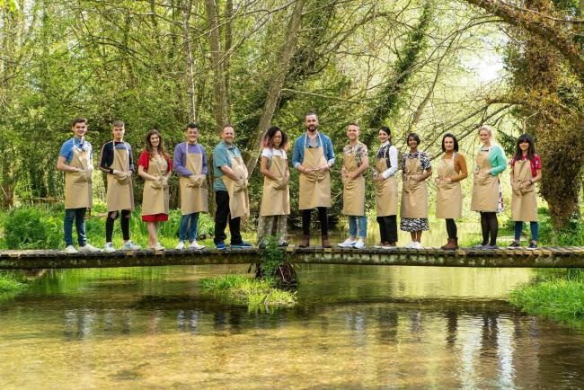 CONTESTANTS: From left to right: Henry, Jamie, Alice, Michael, Phil, Amelia, Dan, David, Helena, Priya, Michelle, Rosie and Steph, contestants for The Great British Bake Off 2019. PICTURE: C4/Love Productions/Mark Bourdillon/PA Wire