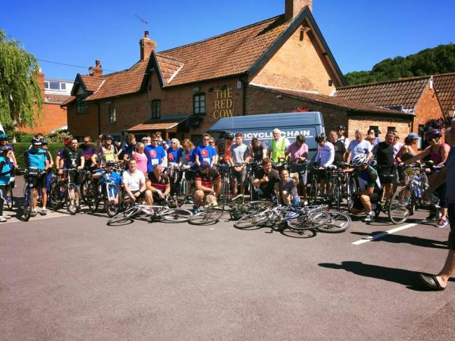 FUNDRAISING: Cyclists at The Red Cow in Brent Knoll ahead of The Chris Evans Bike Ride