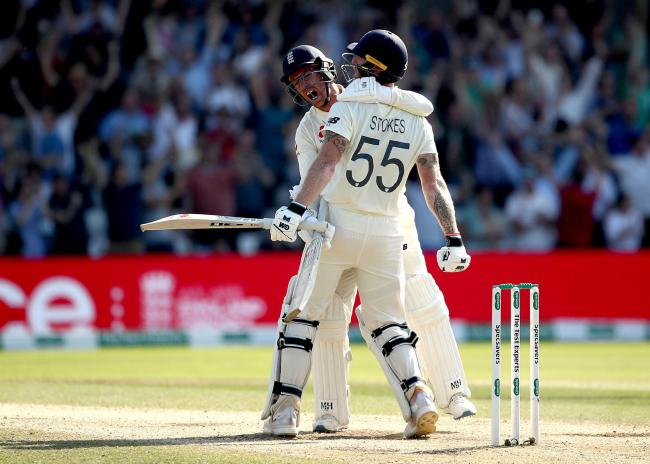 WHAT A WIN: Jack Leach (left) and Ben Stokes celebrate victory at Headingley. Pic: PA Wire