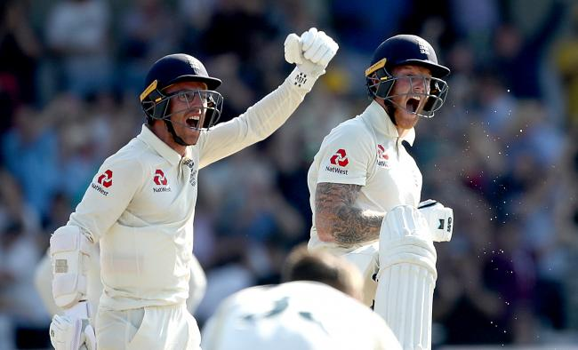 England's Jack Leach and Ben Stokes (right) celebrate victory during day four of the third Ashes Test match at Headingley, Leeds. PRESS ASSOCIATION Photo. Picture date: Sunday August 25, 2019. See PA story CRICKET England. Photo credit should read: T