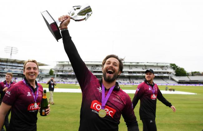 GLORY: Peter Trego celebrates with the One-Day Cup at Lord's. Pic: Alex Davidson/SCCC