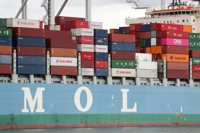 A container ship. Foyle Port engages in worldwide trade in commodities including oil, animal feed and fertiliser