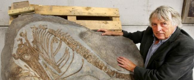 ON DISPLAY: Julian Temperley with the fossil