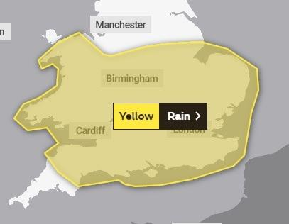 WARNING: The Met Office has issued the yellow alert for rain