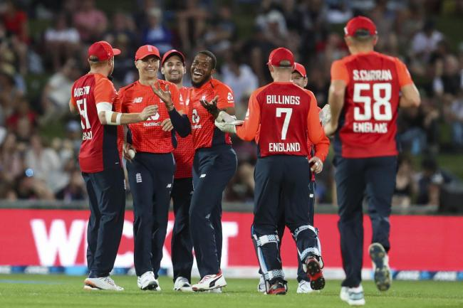 VICTORY: England celebrate the wicket of New Zealand's Tim Seifert in the fourth T20 match. Pic: John Cowpland/Photosport via AP
