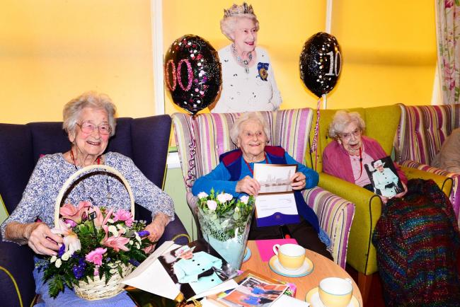 CELEBRATION: Elsie Conelley, Mary Hooper and Flo Drew celebrate at The Towans