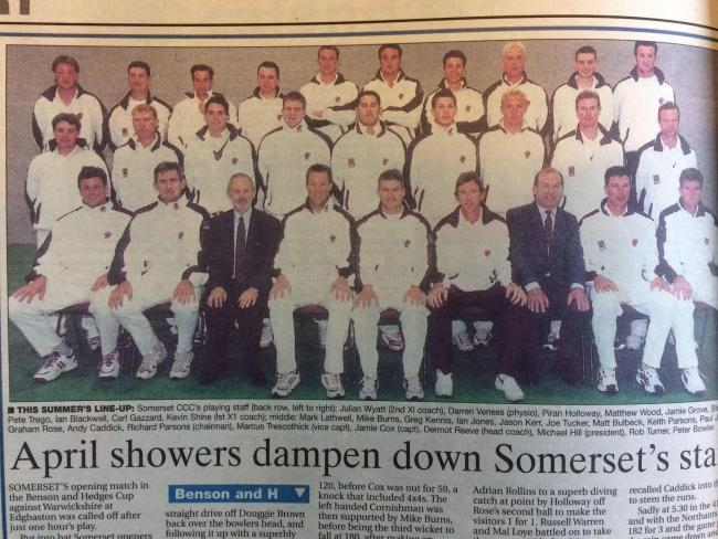 LINE-UP: The Somerset squad ahead of the 2000 season