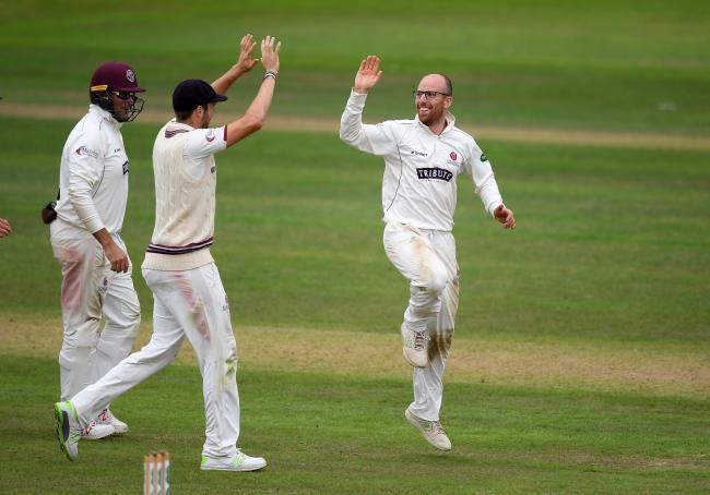 SOMERSET STAR: Jack Leach celebrating taking a wicket for his county last season