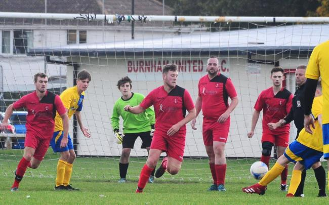 INCIDENT: Action from the Burnham United A fixture before it was abandoned (pic: Steve Richardson)