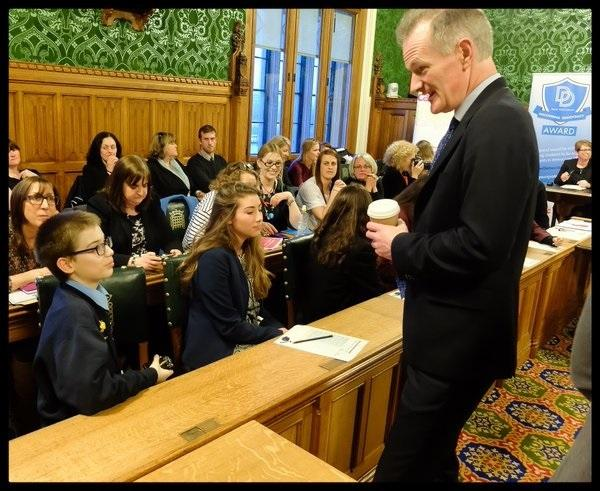 CONTROVERSIAL COMMENTS: John Penrose with youngsters at Parliament