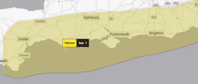 WARNING: A yellow weather warning for ice remains in place across parts of Somerset