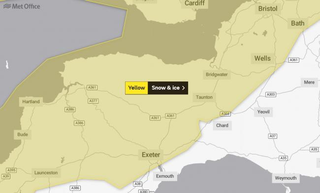 Yellow weather warning for snow and ice in Somerset. Pic: Met Office