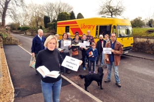 MP Tessa Munt, pictured earlier this year with mobile library campaigners.