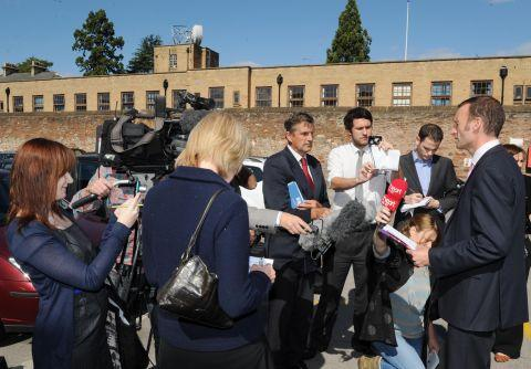 Reporters at the Ashill murder inquiry press briefing