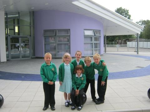 Students from Churchfield Primary School outside the new look entrance