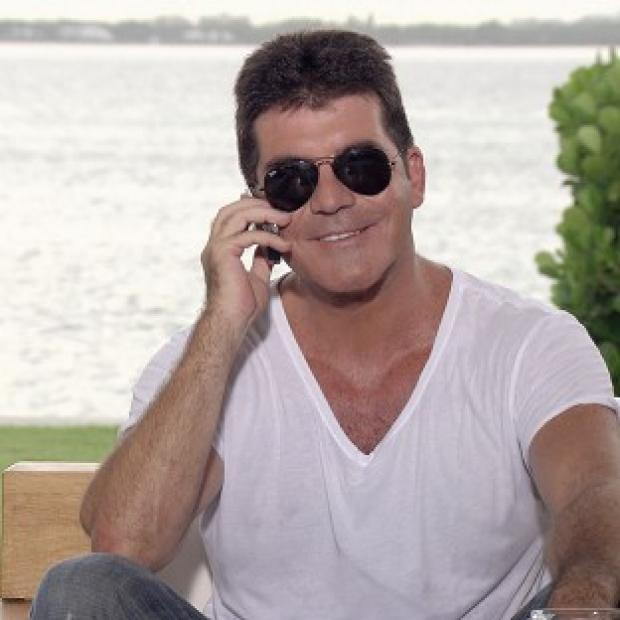 Simon Cowell during filming of the ITV programme X Factor