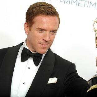 British actor Damien Lewis with his outstanding lead actor in a drama series Emmy (AP)