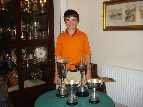 Taylor Stote with his haul of trophies.