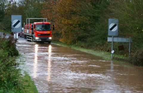 Flooding at West Buckland, Somerset, in November 2012