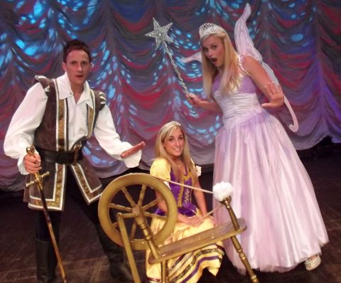 Sean Smith as Prince Valiant, Beth Gore as Princess Aurora and Sarah Smith as the Lilac Fairy.