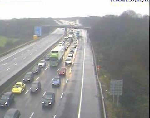 Tailbacks on the northbound carriageway at 12.50pm today.