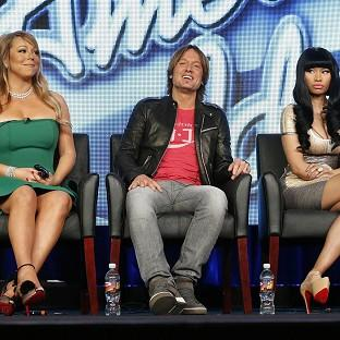 Mariah Carey, Keith Urban and Nicki Minaj from American Idol attend the Fox Winter TCA Tour (AP)