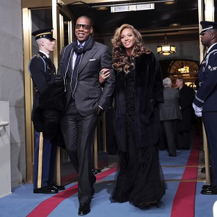 Jay-Z and Beyonce arrive on the West Front of the Capitol in Washington (AP)