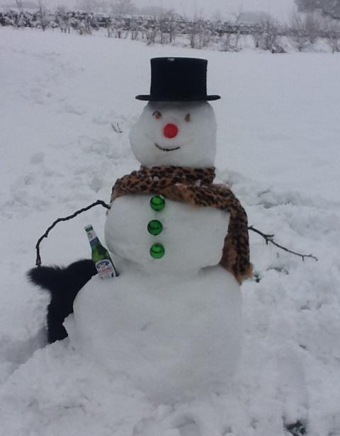 Burnham and Highbridge Weekly News: Snowman with Peroni.