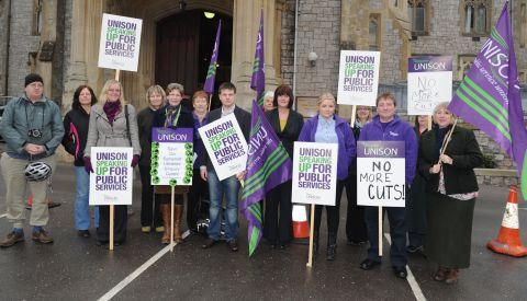 UNISON protest at Somerset County Council cuts meeting