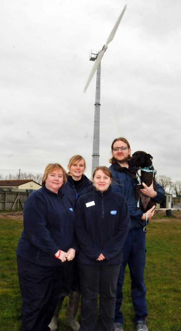 RSPCA staff near the new turbine at the Brent Knoll centre