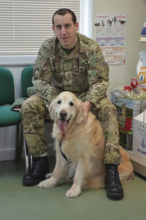 Andy Hutton, from the RAF Brize Norton, with his Golden Retriever, Jack. Photo: submitted.