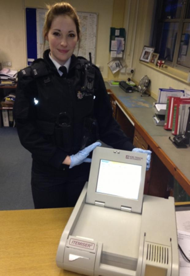 Special Constable Charlotte Stiles with the Itemiser machine. Photo: submitted.