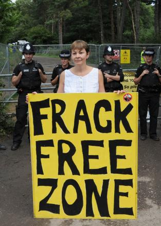 Protesters at a fracking site earlier this year