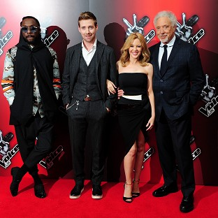 Will.i.am, Ricky Wilson, Kylie Minogue and Sir Tom Jones attend the launch of BBC show The Voice