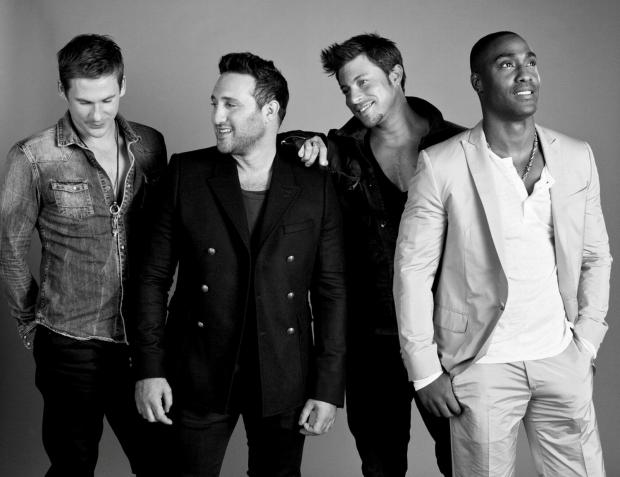 Burnham and Highbridge Weekly News: BLUE in black and white: from left are Lee Ryan, Antony Costa, Duncan James and Simon Webbe.