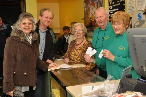 Nigel and Gill Crewsdon buying their tickets from Festival of the Arts representative Denise Berry with Pat and Beryl Scott, the Ritz cinema owners in Burnham.