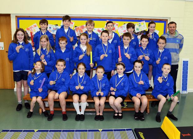 Children at St Joseph's Primary School, Burnham, with their winners' medals.