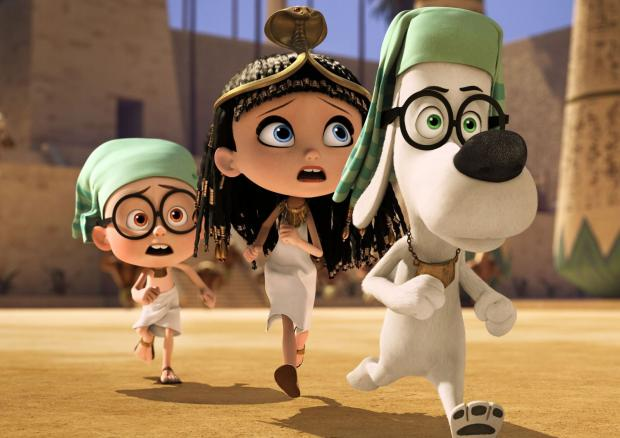 MR Peabody (Ty Burrell), Sherman (Max Charles) and Penny Patterson speed through Ancient Egypt.