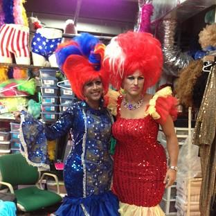 Mark Wright (right) dressed in drag to host a party for the gay community in Miami