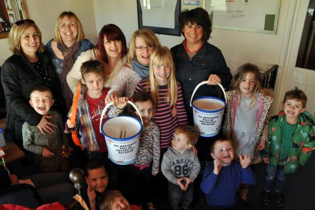 Children at the Lympsham Sports Pavilion raised money for flood victims
