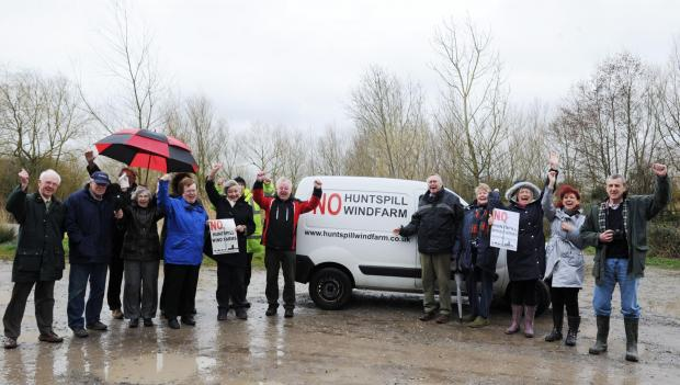 Members of the Huntspill Wind Farm Action Group celebrate. Photo: Jeff Searle.