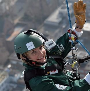 Helen Skelton abseils down the BT Tower