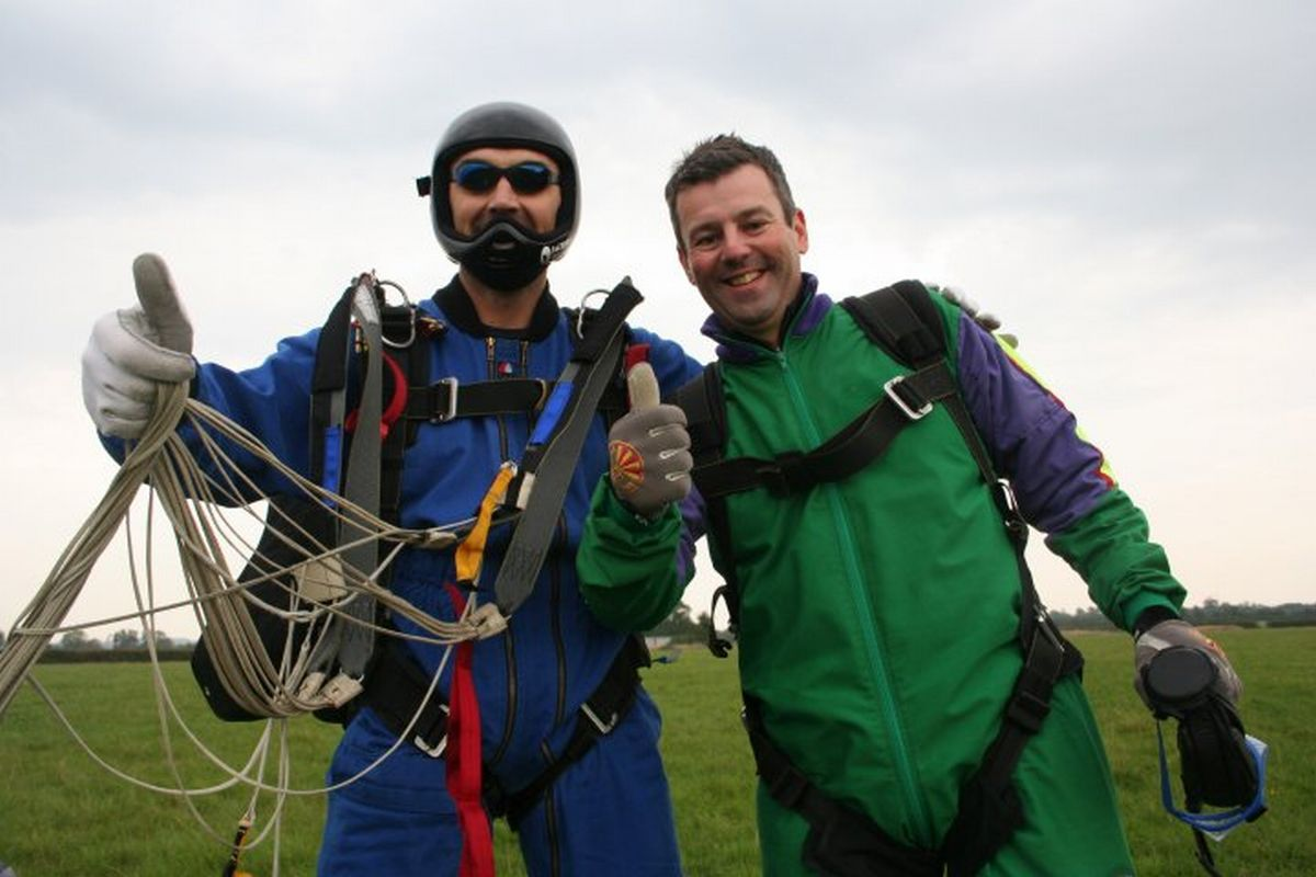 Ed (left) with a sky dive instructor four years ago when he did his first tandem sky dive for Diabetes UK, raising over £2000. He'd love to beat that target this time round.
