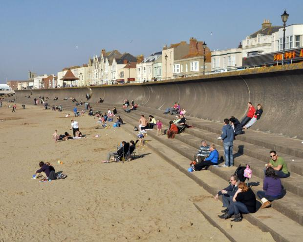 Burnham tourism was hit by the bad weather but last weekend the beach was full of people.