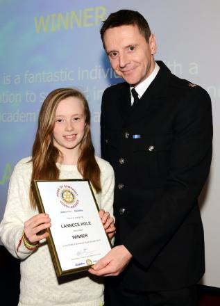 LANNECE Hole received her award from Supt Ian Wylie, of sponsors Avon and Somerset Police.
